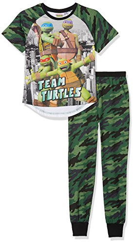 TMNT - Teenage Mutant Ninja Turtles Jungen Zweiteiliger Schlafanzug Camouflage Grün (Green 008), 6-7 Jahre