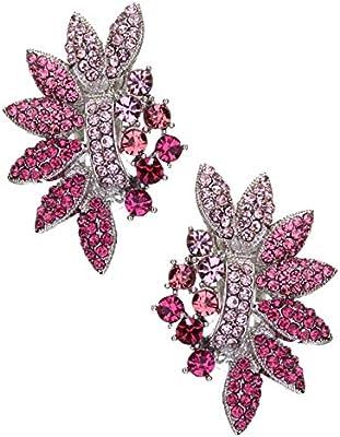 Lujo Bonito–Pendientes Clips Clips Clip On klipse Pendientes Cristal Rosa Color Rosa Fucsia