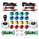 EG STARTS 2 Giocatori LED Arcade Parti Fai da Te 2X USB Encoder + 2X Ellipse Stile Ovale Joystick + 20x LED Arcade Pulsanti per PC MAME Raspberry Pi Sistema Windows (Kit Colore Misto)