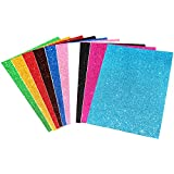 KABEER ART Self Adhesive Easy to Peel Off Glitter EVA Foam Sheets, A4 Size, Pack of 10 (Assorted Colors)