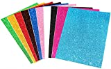 #5: KABEER ART Self Adhesive Easy to Peel Off Glitter EVA Foam Sheets, A4 Size, Pack of 10 (Assorted Colors)