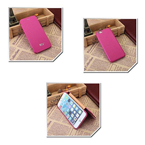 Pdncase iPhone 6 Genuine Leder Tasche Case Hülle Book Style Schutzhülle für iPhone 6 Farbe Rose Rose