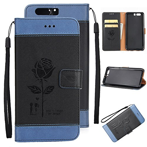 EKINHUI Case Cover Dual Color Matching Premium PU Leder Flip Stand Case Cover mit Card Cash Slots und Lanyard für Huawei P10 ( Color : Brown ) Black