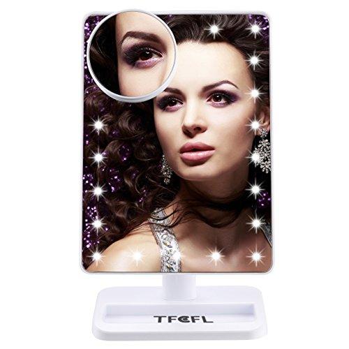 TFCFL Touchscreen LED Make-up Spiegel mit Lichter, 22 LED beleuchtete Vanity Kosmetik Spiegel mit abnehmbaren 10x Vergrößerungsspiegel für Tischplatte, Badezimmer, Schlafzimmer, Reisen, Rasieren, Weiß