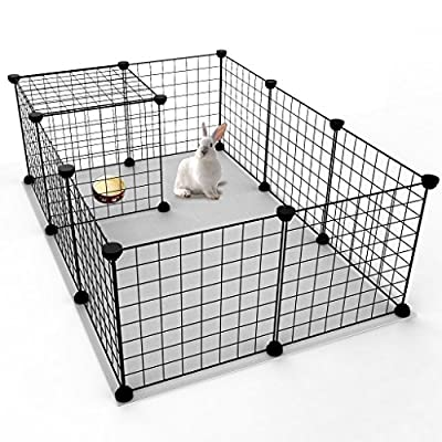 """Koossy Expandable Small Animals Metal Playpen Cage Kennel for Bunny Guinea Pig Rabbit Puppy, Indoor & Outdoor, Black 12 Wire Panels 13.8"""" x 13.8"""""""