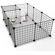 "Koossy Expandable Small Animals Metal Playpen Cage Kennel for Bunny Guinea Pig Rabbit Puppy, Indoor & Outdoor, Black 12 Wire Panels 13.8"" x 13.8"" (12 Panel)"