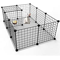 Koossy 12 Stahlgitter DIY Freigehege erweiterbarer Laufstall Welpenauslauf für Kleintiere wie Hase, Kaninchen, Meerschweinchen, Katze und Welpe, Schwarz
