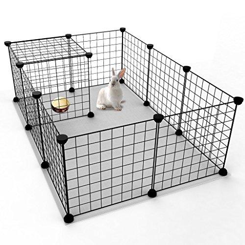 Koossy 12 Stahlgitter DIY Freigehege erweiterbarer Laufstall Welpenauslauf für Kleintiere Wie Hase, Kaninchen, Meerschweinchen, Katze und Welpe, Schwarz (Misc.)