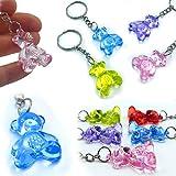 German Trendseller® -6 x porte-clés nounours┃pendentif ourson┃mélange de couleurs┃en optique cristal ┃petit cadeau ┃l'anniversaire d'enfant