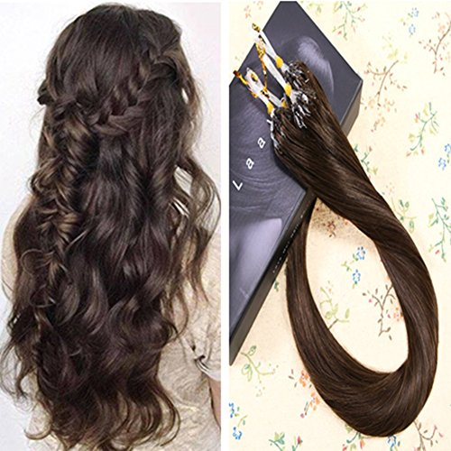Laavoo 16pollice micro loop ring hair extensions corto remy human hair brasiliana capelli marroni scuro #2 lisci invisibile microring extension 50grammi/100miches