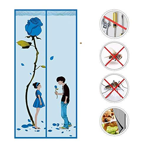 KEOA Magnet Fliegengitter Tür Insektenschutz, Magnetischer Fliegenvorhang Moskitonetz Klebemontage Ohne Bohren Leise, für Balkontür Terrassentür Wohnzimmer(Blau),110 * 200cm