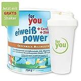 for you Power Eiweiß nach Strunz Milchkaffee 750 g I Fitness Eiweisspulver mit Carnitin Whey-Protein Sojaprotein Milchprotein I Mehrkomponenten Protein Eiweißpulver mit Eiweiss Shaker Becher 700 ml