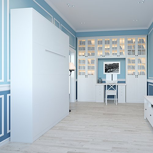 Schrankbett 140 x200cm Vertikal Weiß, ideal als Gästebett – Wandbett, Schrank mit integriertem Klappbett, SMARTBett - 2