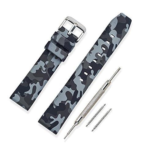 Vinband Bracelet Montre Haute Qualité Silicone Bracelet Montre Camouflage Épaissir De plein air - 20mm, 22mm, 24mm Caoutchouc Montre Bracelet avec Acier Inoxydable Boucle (20mm, Gris)