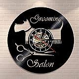 Candyana Vinilo Registro Reloj de Pared salón de Belleza peluquería Peluquero Tienda estilistas Regalo para un Estilista de Pelo,Black,12inch