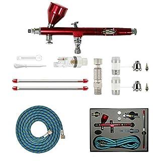 ABEST Professional 0,2 mm 、 0,3 mm 、 0,5 mm Dual-Action-Airbrush-Spritzpistolen-Kit Komplettset für allgemeine Kunsthandwerksprojekte Modellbahn Detaillierung R / C-Karosserien Kunststoff-Kits