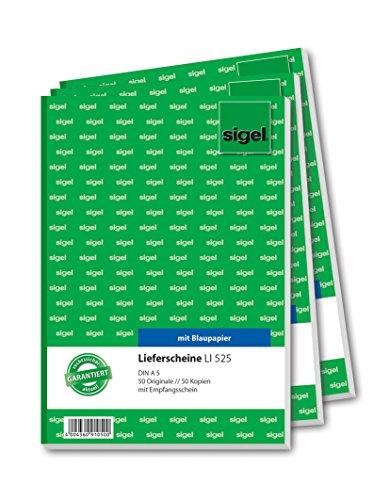 Sigel LI525 Lieferscheine mit Empfangsschein, A5, 2x50 Blatt, 3er Pack