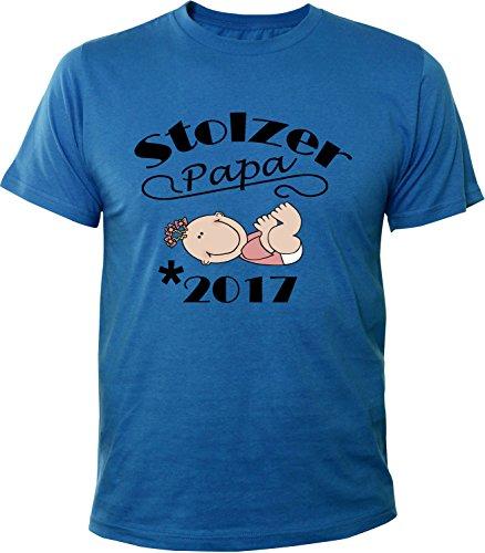Mister Merchandise Herren Men T-Shirt Stolzer Papa - 2017 Tee Shirt bedruckt Royal