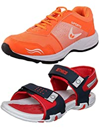 Ethics Combo Of 1 Designer Casual Sandal & 1 Sport Shoes-Pack Of 2 (76340 Red+Hockey Orange)