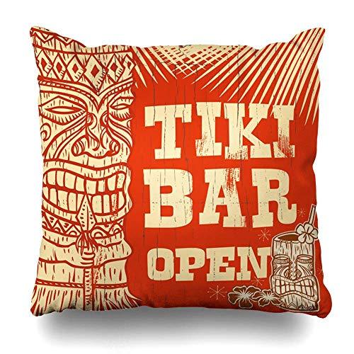 Bamboo Beach Tiki Bar (Throw Pillows Covers Orange Hawaii Vintage Wooden Sign Tiki Bar Open Party Beach Home Decor Pillowcase Square Size 18 x 18 Inches Cushion Case)