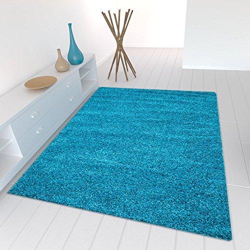 Star Shaggy Teppich Farbe Hochflor Langflor Teppiche Modern für Wohnzimmer Schlafzimmer Uni Farben - Teppich-Home, Farbe:Turkis, Maße:60x100 cm