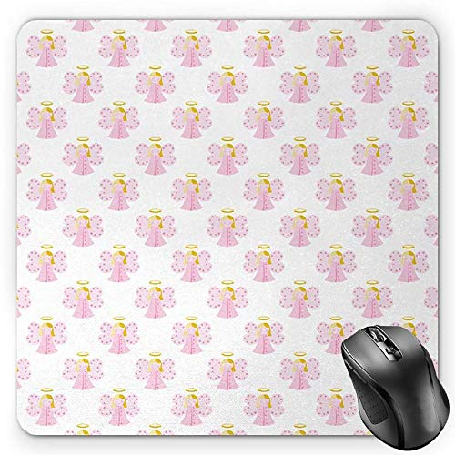 s, Cute Angels Spiritual Wing Girl with Halo Fairy Tale Surreal Kids Cartoon, Standard Size Rectangle Non-Slip Rubber Mousepad, Baby Pink Earth Yellow ()