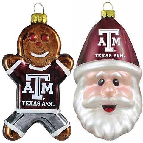 NCAA Texas A & M Aggies Mundgeblasenes Glas Lebkuchenmann & Santa Gap Ornament 2er Pack