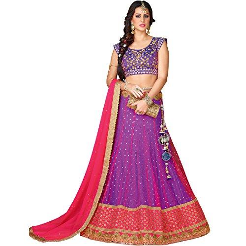 Vasu Saree Purple Pink Net Silk Engagementwear Lehenga Choli  available at amazon for Rs.5908