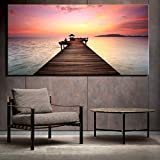 Sunset At The Beach Quadro su tela Senza cornice Grande tramonto rosso Vista sul mare Moderna casa Cuadros Immagine per soggiorno Decorazione Pittura 60x120 cm senza cornice Multi