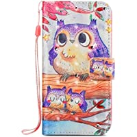Surakey Galaxy S6 Case,Galaxy S6 Leather Case, Flower Butterfly Pattern Premium PU Leather Stand Holder Card Cash Slots Magnetic Closure Flip Cover Phone case for Samsung Galaxy S6,Purple Owl