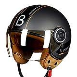 JPFCAK Retro-Helm, Retro-Roller Helm, Motorradhelm, Jethelm, Ritter, Cruiser, Pilot, Helm, Retro · ECE-Zertifizierung · M-XL,A-L=57-58cm