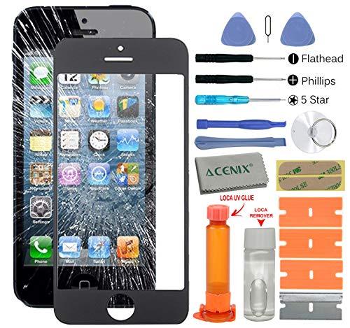 ACENIX Universal Reparaturset für Touchscreen, Weiß, mit LOCA-Kleber & -Entferner, für Apple iPhone 5/5S/5C, mit 20Stück Ersatz-Sets, Komplett-Set für defekte iPhone-5-Bildschirme - 5c Iphone Ersatz-linse