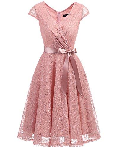 Dresstells Damen Spitzenkleid V-Ausschnitt kurz Brautjungfern Cocktailkleid Abendkleider Blush XL
