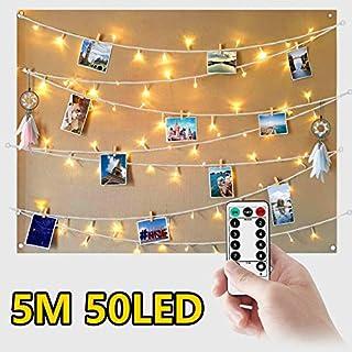 WEARXI Lichterkette mit Klammern für Fotos, Lichterketten für Zimmer - 5M 50 LED Fotoclips Lichterkette Wasserdicht 8 Modi Foto Lichterkette Bilderrahmen, collagen, Haus, Weihnachten, Hochzeit
