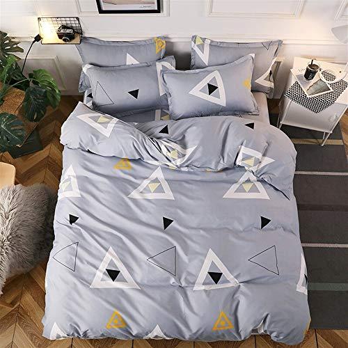 UOUL Bettwäsche Set Baumwolle 4 Stück Atmungsaktiv Pflegeleicht Geeignet Für Jugendliche Erwachsene Schlafzimmer Plaid Grey Queen 2x2.3m,Triangle,California King -