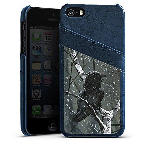 Apple iPhone 5s Housse Étui Protection Coque Corbeau Corbeau Forêt Étui en cuir bleu marine