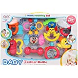 BEST SHOP BABY TEETHER RATTLE-COMBINATION OF TWO IN ONE-THEETHER CUM RATTLE IN ONE PACK(8 TEETHER RATTLE)