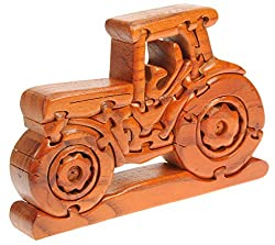 Farm Tractor 3-D Wooden Puzzle : Fun Brain Teaser : Handcrafted Wood : Top Novelty Christmas Gift Idea! Top Novelty Wooden Christmas Gift Idea For Fans Of Tractors!