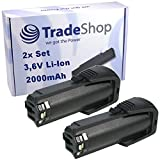 2x Trade-Shop Premium Li-Ion Akku 3,6V / 2000mAh für Bosch PS10, SPS10, SPS10-2, GSR Mx2Drive, GSR PRODRIVE, 36019A2010 ersetzt 2 607 336 242, 2 607 336 241, BAT504