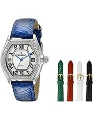 Peugeot 679S - Reloj de pulsera para mujer, mecanismo de cuarzo, analógico, correa de piel, con 5 correas intercambiables, multicolor