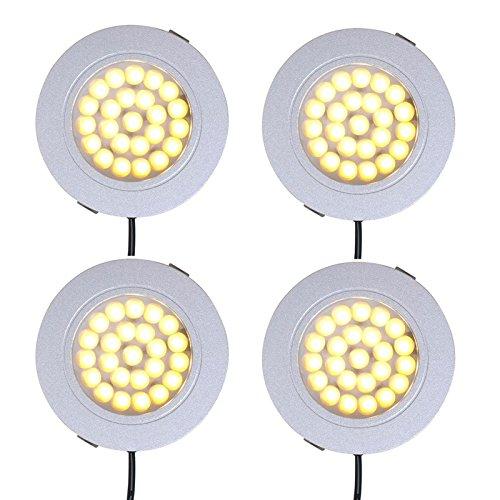 Lot de 4 Caravane Spot à Encastrer 24 Plafonnier LED 12 V, 220LM, Ø65 x 11 mm
