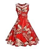 KPILP Frauen Abendkleider Vintage Retro Print Floral Hülse Mit DREI Vierteln A-Linie Petticoat Für Business Party Prom Schaukel Kleid Winter Herbst(Rot,EU-40/CN-M)