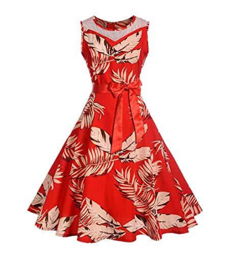 KPILP Frauen Abendkleider Vintage Retro Print Floral Hülse Mit DREI Vierteln A-Linie Petticoat Für Business Party Prom Schaukel Kleid Winter ()