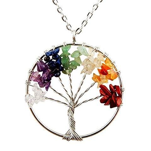 Cmidy Pendentif motif arbre de vie avec cristaux et 7 pierres de chakra