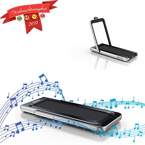 Fitifito ST100 Edles Laufband Profilaufband mit Touchscreen 1.0-12 km/h Bluetooth Fernbedienung komplett klappbar verstaubar mit Handyhalter Silber