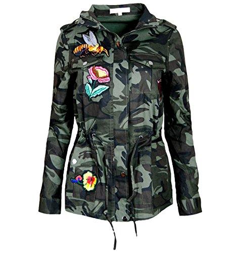 ALZORA Damen Jacke Camouflage Parka Militär Übergangsjacke Patches Blouson, F808 (M, Modell 1)