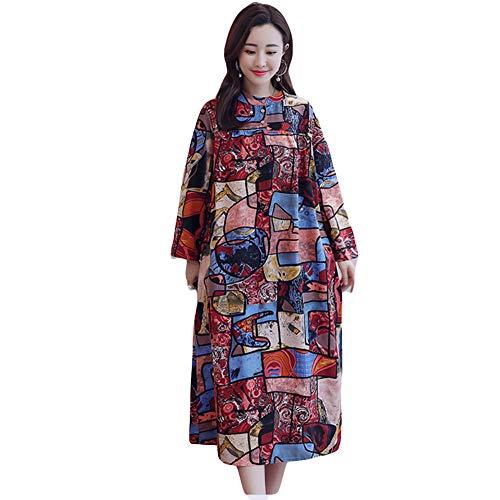 Geometrischen Print-Ärmellos (GQJQWE Chinesischen Stil Baumwolle und Leinen lose Kleid Damen Kunst Retro Rundhals Langarm Print Kleid geometrische Figur Kleid)