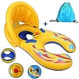 Kinder Schwimmring, Moonmini Mutter und Baby Pool Float aufblasbare Infant Float Schwimmring mit Baldachin und Aufbewahrungstasche für Schwimmbad und Meer Wasserspaß