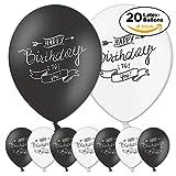 iFancy 20 Happy Birthday to You Luftballons zum Geburtstag - Doodle Ballons in Schwarz & Weiss für Luft & Helium in Top-Qualität ø30cm - Dekoration Party Feiern