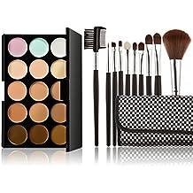 LEORX Contorno de la cara Kit de maquillaje Kit 15 paleta crema corrector con pincel 10pcs